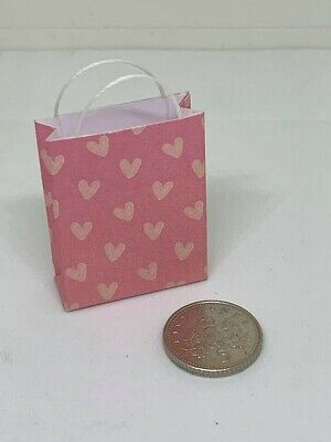 Handmade 1:12th Scale Dolls House Miniature Accessory Pink Hearts Gift Bag