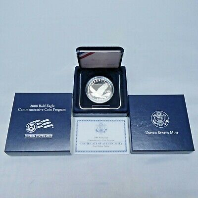 2008 $1 Bald Eagle Proof Commemorative Silver Dollar with Box and COA
