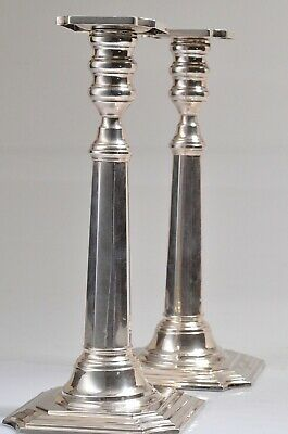 """2 Vintage Hallmarked Sterling Silver Candlestick Holders 10""""Tall"""