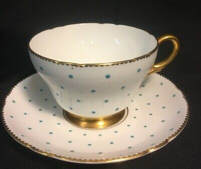 Shelley England Fine Bone China Teacup and Saucer Turquoise Polka Dot Pattern