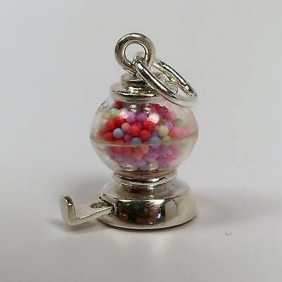 Vintage GUMBALL MACHINE Sterling Silver CHARM Bubble Gum PENDANT Movable MINT