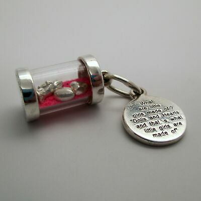 STERLING SILVER What are Little Girls Made of? CHARM Baby Shower Gift PENDANT
