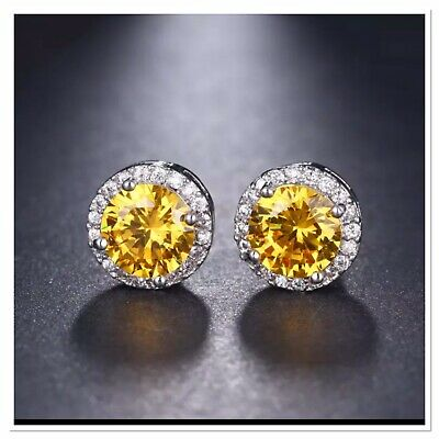 ZARD Sterling Silver Plated Yellow Round Cut CZ Crystal Halo Stud Earrings