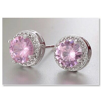 ZARD Sterling Silver Plated Rose Pink Round Cut CZ Crystal Halo Stud Earrings