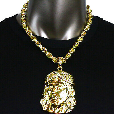 14K Gold Plated XL Jesus Face Piece Hip Hop Pendant with Choker Rope Chain Link