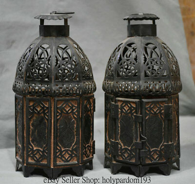 "8"" Antique Chinese Colored Glaze Copper Dynasty Palace lamp lantern Statue Pair"