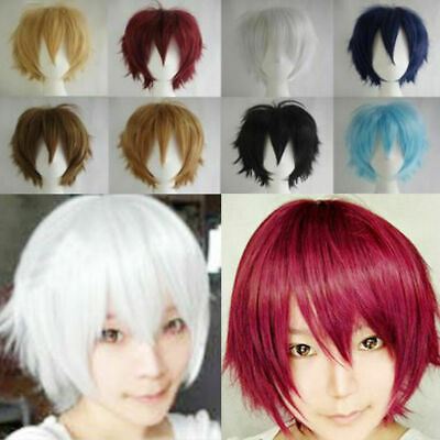 22 Colors Short Straight Hair Wigs Cap Hairpiece Anime Cosplay Party Head Acces