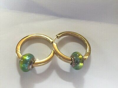 Murano Glass Bead on Gilt (14K Gold over Sterling Silver) Hoop Earrings, Vintage