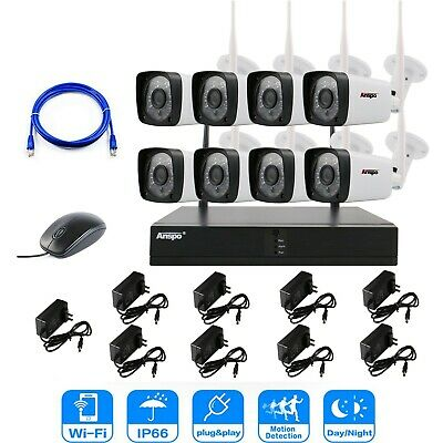 1080P Security Outdoor Wireless Wifi NVR System IR HD IP Camera CCTV Kit & HDD