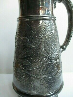 """Victorian Aesthetic Figural Tufts Quadruple Plate Pitcher 10 1/4"""" Bird Insect"""