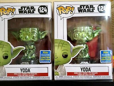 Funko Pop SDCC Exclusive Green Chrome Yoda Star Wars Comes with Protective Box