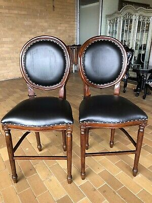 Pair Of  Leather French Oval Bar Stool French Provinicial