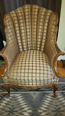 1920s Antique French Provincial Walnut hand carved living room Chair