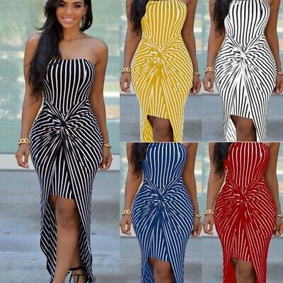 Summer Women's Strapless Long Maxi Dress Party Beach Stripe Tube Top Sundress