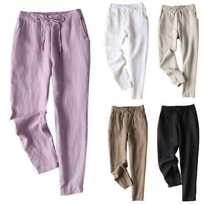 New OL Baggy Beach Trousers Womens Casual Cotton Linen Pocket Holiday Pants AU
