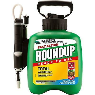 Weedkiller Roundup Weed Control Plants Gardening Fast Action Pump Go Spray 2.5L
