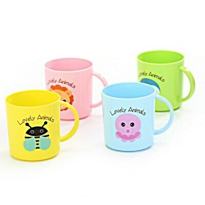 Toddler Kid Cup Drinking Mugs Cute Cartoon Print Resuable Cup Plastic Handle AU