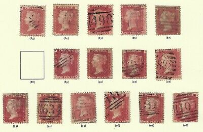 GB STAMPS QUEEN VICTORIA PENNY RED PLATE NUMBER COLLECTION +10 2d BLUE SEE SCANS