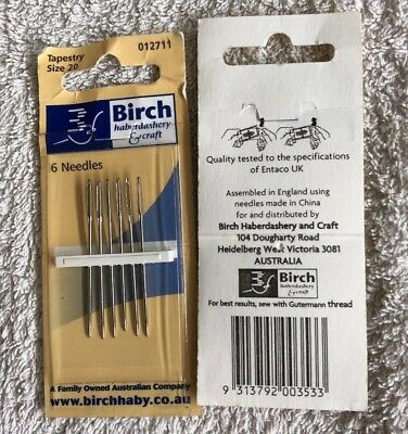 Birch tapestry embroidery needles, 6 needles. size 20. new unused