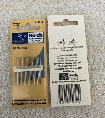 Birch Sharps needles size 8, 20 needles. new unused