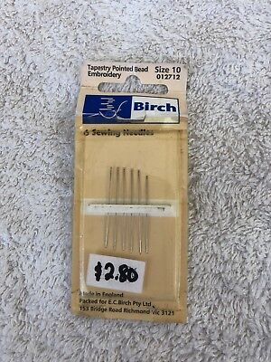 Birch tapestry pointed bead embroidery needles, 6 needles. size 10. new unused