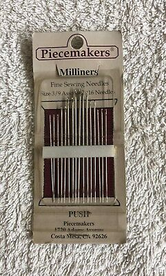 Piecemakers Milliners needles, 16 needles. sizes 3/9. new unused