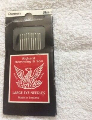 Richard Hemming & Sons Darners needles, size 3, new unused