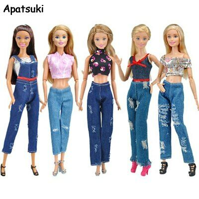 1Set Fashion Outfits For Barbie Doll Clothes Set Short Top Jeans Pants Trousers