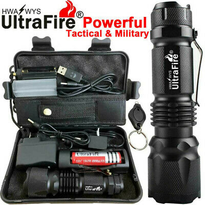 90000LM T6 Tactical Military LED Flashlight Torch Work Light Zoom