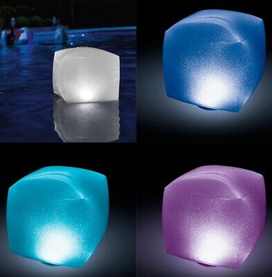 Cubo lampara LED Hinchable flotante para Piscina intex 23x22x23 cm,sensor tactil
