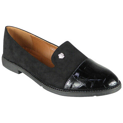 Womens Loafers Boots Ladies Brogue Croc Flats Work Office School Slip On Shoes S