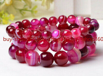 Natural 6-14mm Red Striped Agate Round Gemstone Bracelet 7.5'' AAA