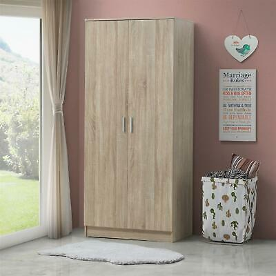 2 Door Double Wardrobe In Sonoma Oak - Bedroom Furniture Storage Cupboard