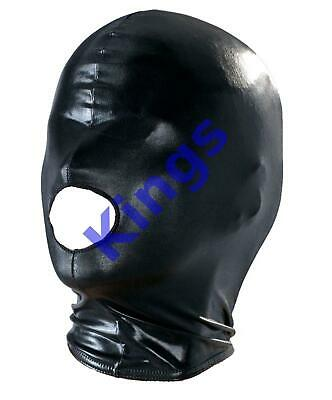 Spandex Wet Look Hood Full Mask Open Mouth 1 Hole Stretchy Black Gimp Mask Hood