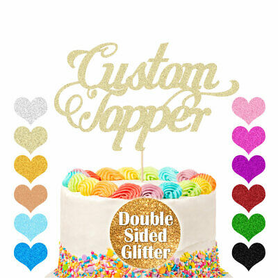 Personalised Cake Topper Glitter Any Word Name Customised 1st 18th 21st Birthday