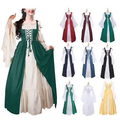 Medieval Noble Women Ladies Vintage Princess Dress Gothic Costume Play Dresses