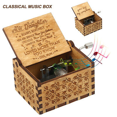 Wooden Music Box Mom/Dad To Daughter -You Are My Sunshine Engraved Chrismas Gift