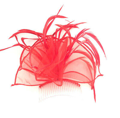 Red Feather Hair Comb Fascinator Ladies Day Races Ascot Weddings