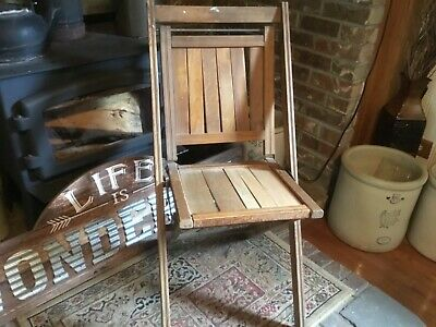 Vintage Wooden Folding Chair Wood Slat Seats Antique Simmons Company