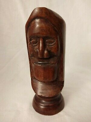 """Solid Wood Carved Totem, Man's Face, Chess Piece 5"""" Tall"""