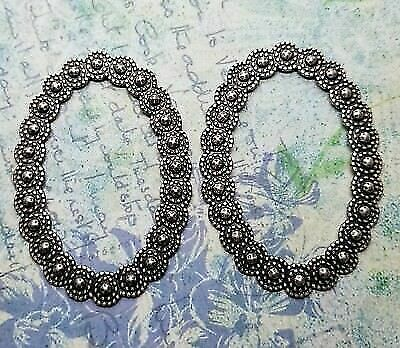 2 SOL974 Large Oxidized Silver Deco Teardrop Cut-Out Charms