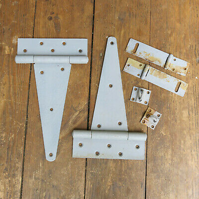"Lot of 2 Vtg Old 9.5"" Strap Barn Gate Door Hinges Rustic Paint Patina with Latch"