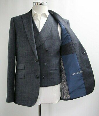 Men's Unbranded Navy Blue Check Blazer & Waistcoat Set (40R).. Sample 5584