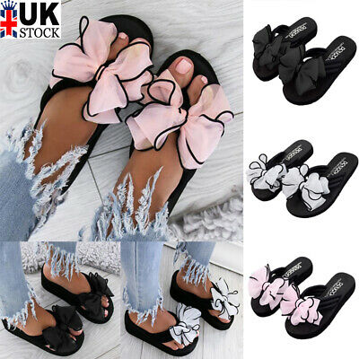 Ladies Womens Bow Tie Flat Sliders Slippers Slip On Flip Flops Shoes Size Uk