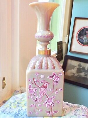 Antique French Carmel Opaline Art Glass Scent Bottle-Birds & Bamboo-3 Days Ship
