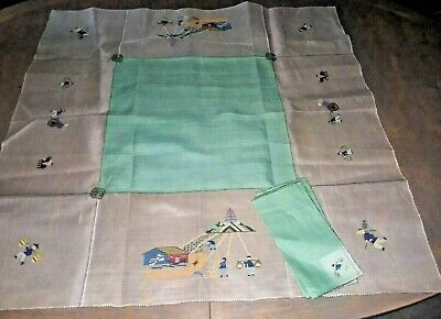 Vintage Square Tablecloth 4 Napkins Amish Farm Barnyard Linen Stitch Embroidery