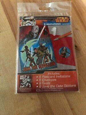 8 Envelopes Star Wars Rebel Invitations Seals and Save the Date Stickers