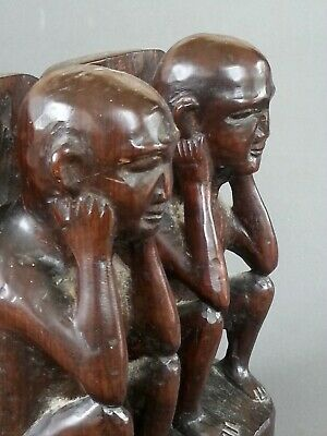 Antique Asian heavy wood hand carved bookends, 8.75 inches