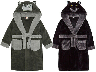 New Boys Novelty Gorilla Panther Robe Hooded Soft Fleece Dressing Gown Xmas Gift