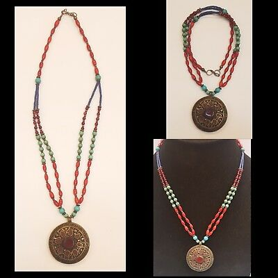 Medieval Old Beautiful Turquoise Lapis & Coral Stone Necklace With Agate Pendant